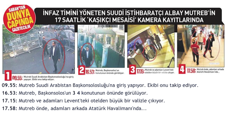 Photos show alleged Saudi operative Maher Mutreb's movements during his visit to Istanbul on day of Jamal Khashoggi's disappearance (SABAH)