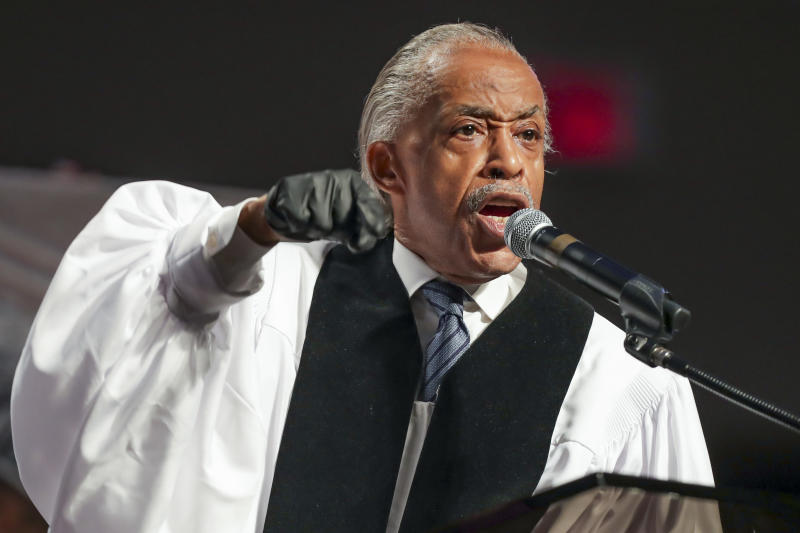 Rev. Al Sharpton called for action from the NFL during George Floyd's funeral. (Photo by Godofredo A. Vasquez/ AFP/Getty Images)
