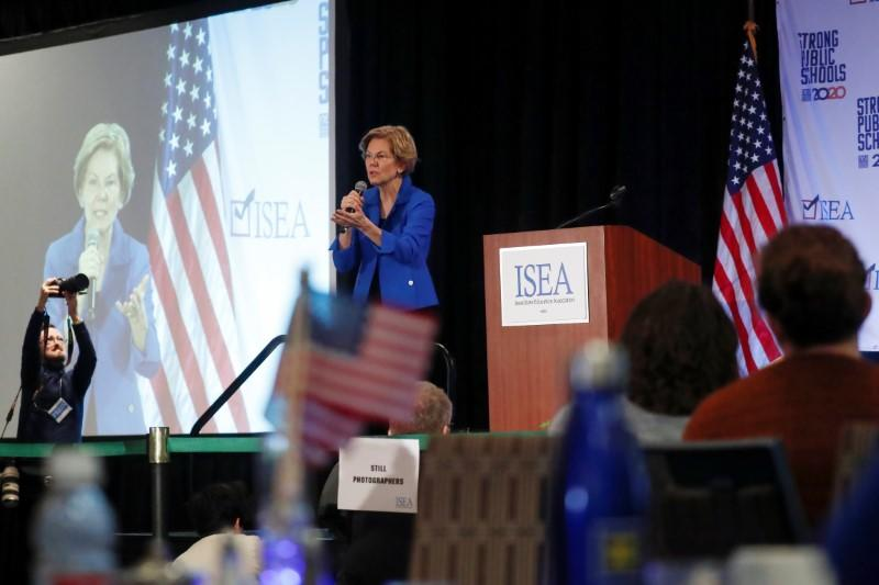 Democratic 2020 U.S. presidential candidate and U.S. Senator Elizabeth Warren (D-MA) speaks during the ISEA (Iowa State Education Association) 2020 Legislative Conference West Des Moines, Iowa