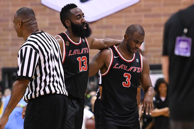 """Teaming up at the Drew League, James Harden and <a class=""""link rapid-noclick-resp"""" href=""""/nba/players/3930/"""" data-ylk=""""slk:Chris Paul"""">Chris Paul</a> just scratched the surface of what they'll be capable of this year. (Getty)"""