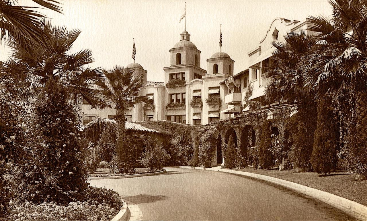 In this undated image released by Beverly Hills Collection, a historic view of The Beverly Hills Hotel is seen. The Beverly Hills Hotel is celebrating its 100th Anniversary in May. (AP Photo/Beverly Hills Collection)