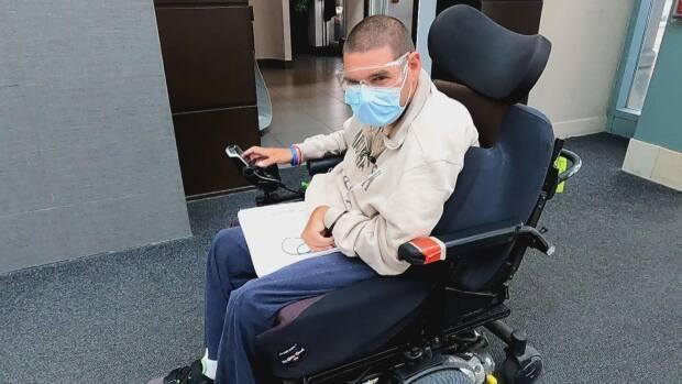 On Tuesday, Nick Schuurman went to Devonshire Mall for the first time since the pandemic began. The 35-year-old took in the sights and sounds while handing out resumés.  (Jennifer La Grassa/CBC - image credit)