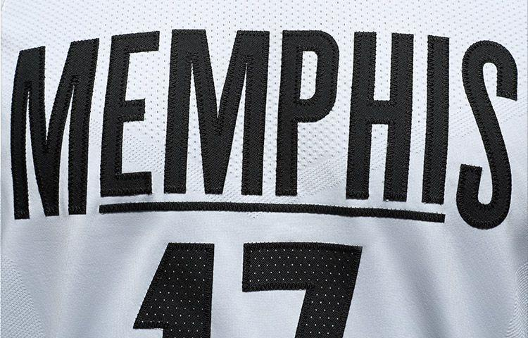 A detail look at the front wordmark on the Memphis Grizzlies' MLK50 jerseys. (Image via Memphis Grizzlies)