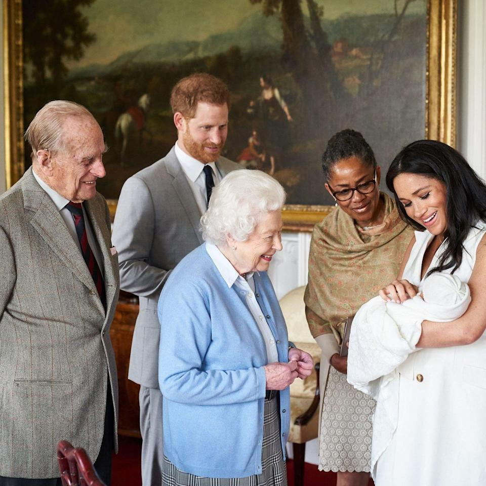 <p>Photographer Chris Allerton captured the moment baby Archie met his great-grandparents, Queen Elizabeth and Prince Philip. Meghan's mother Doria Ragland was also there to share in the celebration. </p>