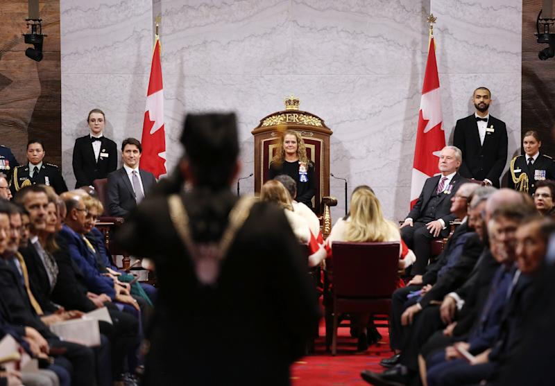 Governor General Julie Payette and Prime Minister Justin Trudeau (L) wait for the start of the throne speech in the Senate of Canada on Dec. 5, 2019 in Ottawa. (Photo: DAVE CHAN via Getty Images)