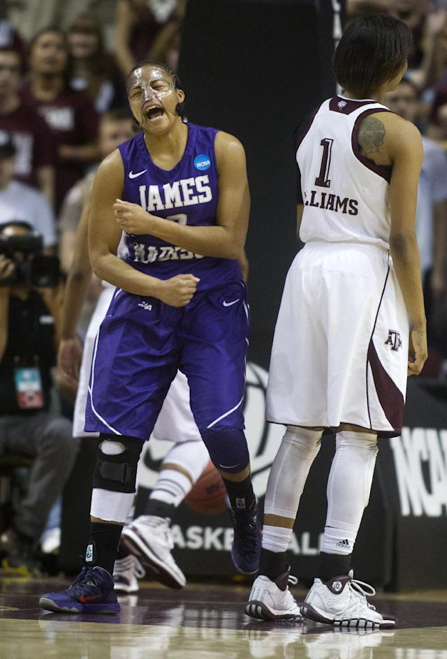 James Madison forward Toia Giggetts celebrates after scoring a basket during the first half of an NCAA women's basketball game against Texas A&M, Tuesday, March 25, 2014, in College Station, Texas. (AP Photo/Patric Schneider)