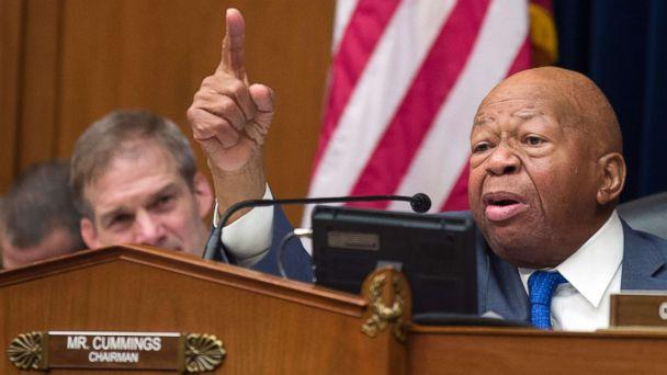 PHOTO: House Oversight and Reform Committee Chair Elijah Cummings gives closing remarks as Rep. Jim Jordan, left, listens, following the testimony of Michael Cohen, at the House Oversight and Reform Committee on Capitol Hill, Feb. 27, 2019. (Alex Brandon/AP)