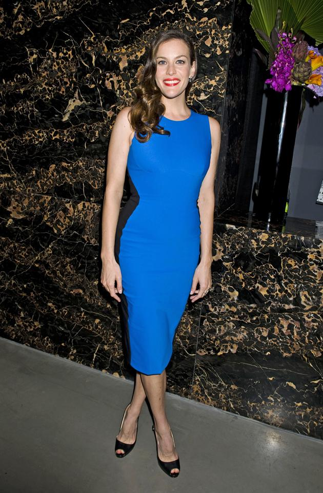 Celebrity fashion: We like that Liv Tyler made a move away from monochrome optical illusion dresses, choosing a blue one instead.