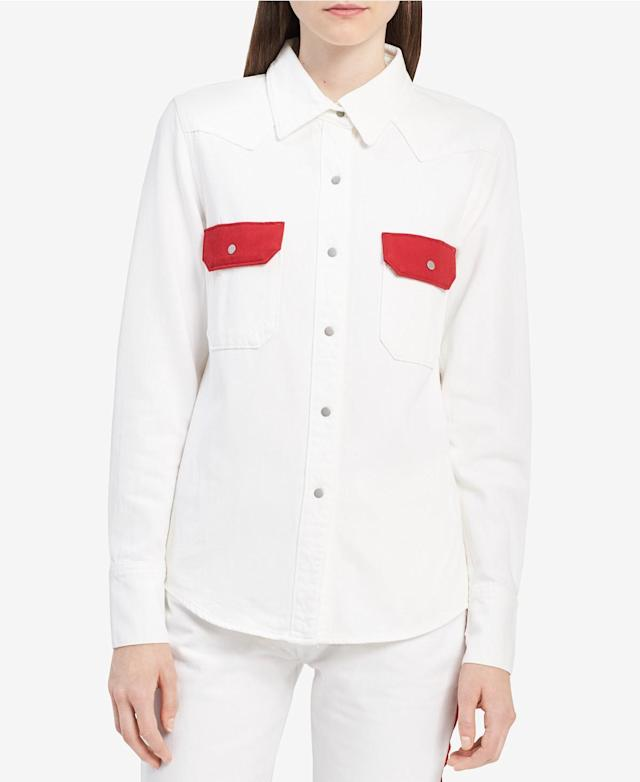 "<p>Cotton Western Shirt, $83 (on sale with code: VIP, valid until March 25 only, orig. $118),<a href=""https://www.macys.com/shop/product/calvin-klein-jeans-cotton-western-shirt?ID=5792651&CategoryID=255&tdp=cm_app~zMCOM-NAVAPP~xcm_zone~zPDP_ZONE_A~xcm_choiceId~zcidM05MAS-521db8e5-9e14-4f74-b00a-280e3decd838%40H7%40customers%2Balso%2Bshopped%24255%245792651~xcm_pos~zPos1"" rel=""nofollow noopener"" target=""_blank"" data-ylk=""slk:macys.com"" class=""link rapid-noclick-resp""> macys.com</a> </p>"