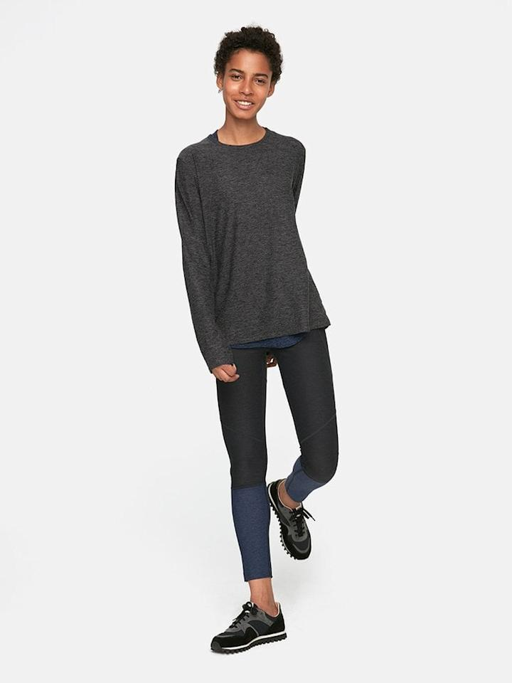 """<p>I also wear this <a href=""""https://www.popsugar.com/buy/Outdoor-Voices-CloudKnit-Longsleeve-T-Shirt-432533?p_name=Outdoor%20Voices%20CloudKnit%20Longsleeve%20T-Shirt&retailer=outdoorvoices.com&pid=432533&price=65&evar1=fit%3Auk&evar9=46637719&evar98=https%3A%2F%2Fwww.popsugar.com%2Ffitness%2Fphoto-gallery%2F46637719%2Fimage%2F46638047%2FOutdoor-Voices-CloudKnit-Longsleeve-T-Shirt&list1=shopping%2Cwellness%2Cmeditation%2Cmeditate%2Canxiety%2Cself-care&prop13=api&pdata=1"""" rel=""""nofollow"""" data-shoppable-link=""""1"""" target=""""_blank"""" class=""""ga-track"""" data-ga-category=""""Related"""" data-ga-label=""""https://www.outdoorvoices.com/products/cloudknit-longsleeve?variant=18152120069"""" data-ga-action=""""In-Line Links"""">Outdoor Voices CloudKnit Longsleeve T-Shirt</a> ($65), and I never want to take it off.</p>"""