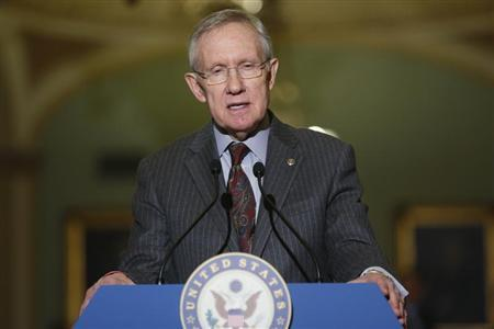 Reid speaks to reporters after the weekly Democratic caucus luncheon at the U.S. Capitol in Washington