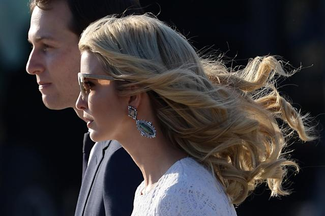 <p>Ivanka Trump, daughter of President Donald Trump, and her husband Jared Kushner, senior adviser to Trump, arrive at Rome's Fiumicino Airport on May 23, 2017. (Photo: Filippo Monteforte/AFP/Getty Images) </p>