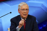 Senate Majority Leader Mitch McConnell, R-Ky., debates with democratic candidate Amy McGrath in Lexington, Ky., Monday, Oct. 12, 2020. (Michael Clubb, The Kentucky Kernel via AP Pool)
