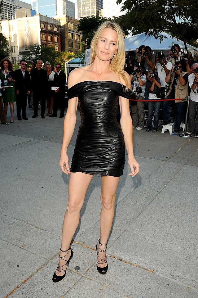 "Is it just us, or is Robin Wright Penn's Balmain mini a lil' too tiny, a lil' too tight, a lil' too cheap-lookin,' and a lot too age-inappropriate? George Pimentel/<a href=""http://www.wireimage.com"" target=""new"">WireImage.com</a> - September 15, 2009"