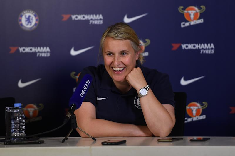 COBHAM, ENGLAND - APRIL 25: Emma Hayes, Manager of Chelsea speaks during a Chelsea Women press conference at Chelsea Training Ground on April 25, 2019 in Cobham, England. (Photo by Chelsea Football Club/Chelsea FC via Getty Images)