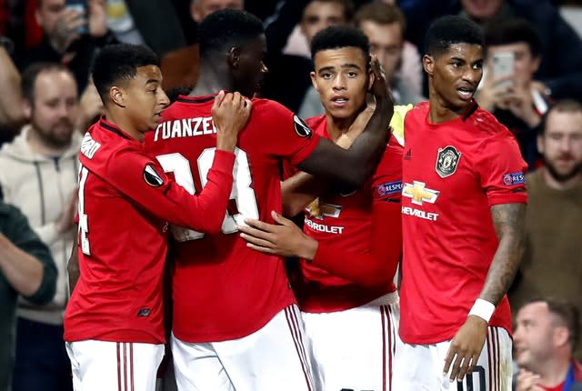The likes of Jesse Lingard, Axel Tuanzebe, Mason Greenwood and Marcus Rashford (l-r), have come up through the ranks at Manchester United (Martin Rickett/PA)