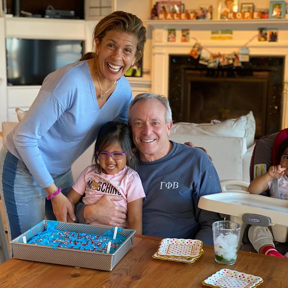 """<p>Hoda and Haley Joy celebrated Joel's birthday on March 21 with a sweet blue cake and a <a href=""""https://www.instagram.com/p/B-A7v0MFuUP/"""">FaceTime visit from grandma Kotb</a>.</p>"""