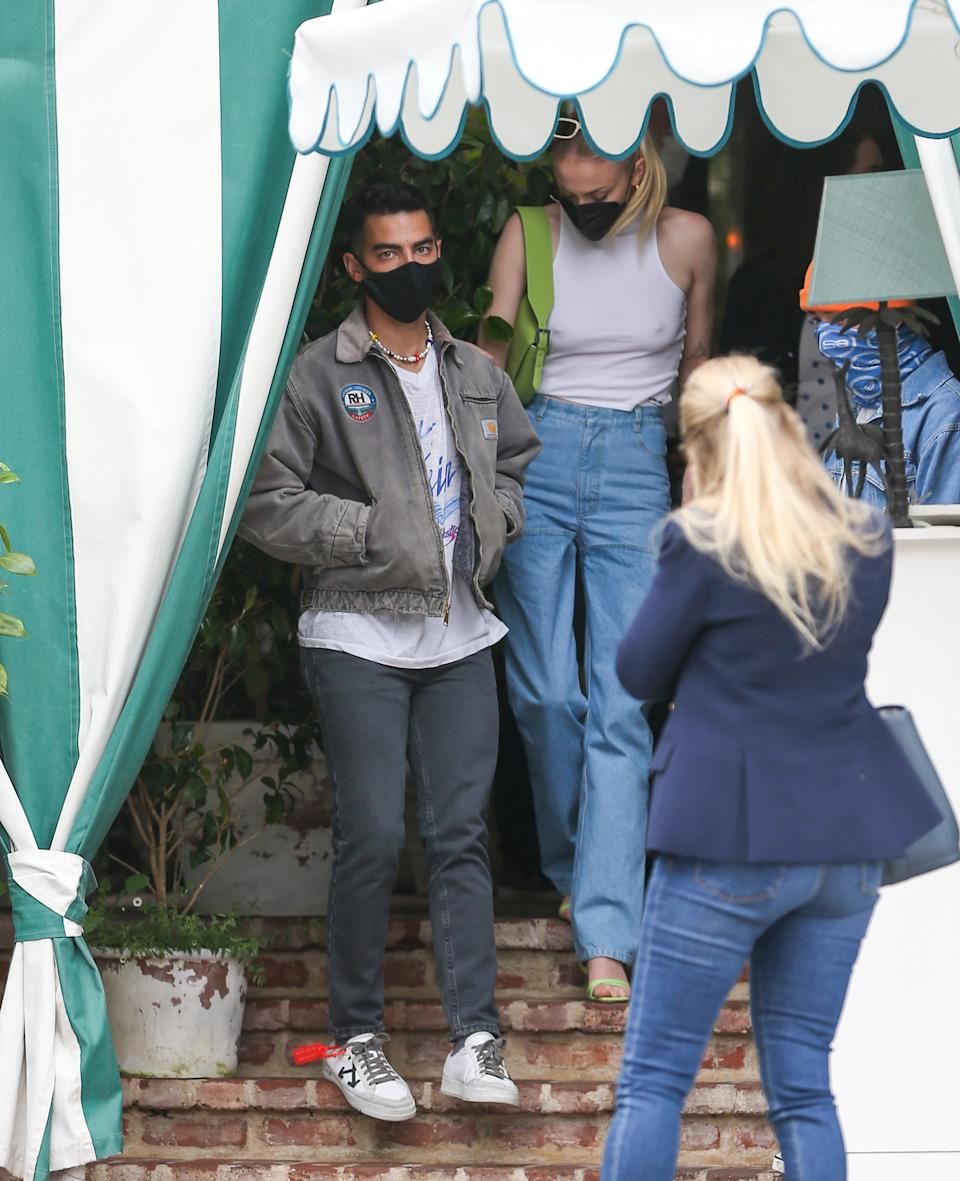 Joe Jonas and Wife Sophie Turner were spotted leaving lunch in West Hollywood. (Image via Getty Images)