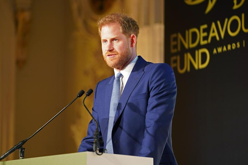 Britain's Prince Harry, Duke of Sussex delivers a speech during the Endeavour Fund Awards at Mansion House in London on March 5, 2020. - The Endeavour Fund helps servicemen and women have the opportunity to rediscover their self-belief and fighting spirit through physical challenges. (Photo by Paul Edwards / POOL / AFP) (Photo by PAUL EDWARDS/POOL/AFP via Getty Images)