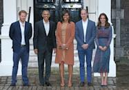 <p>Kate opted to wear her favoured L.K. Bennett for a dinner with Barack and Michelle Obama. Her silk dress featured a subtle leopard print and was paired with a navy belt and suede Rupert Sanderson heels.</p><p><i>[Photo: Getty]</i></p>
