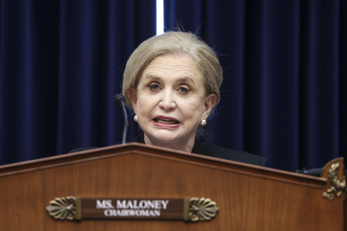 House Oversight and Reform Committee Chairwoman Carolyn Maloney, D-N.Y., speaks during a House Oversight and Reform Committee regarding the on Jan. 6 attack on the U.S. Capitol, on Capitol Hill in Washington, Wednesday, May 12, 2021. (Jonathan Ernst/Pool via AP)