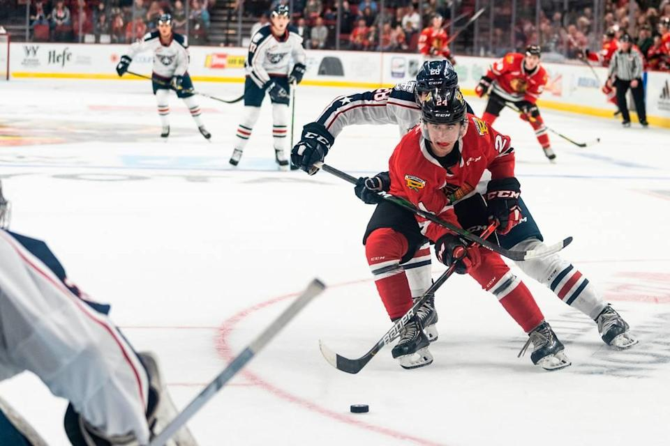 Carolina Hurricanes forward prospect Seth Jarvis.played with the Chicago Wolves (AHL) and Portland Winterhawks (WHL) last season.