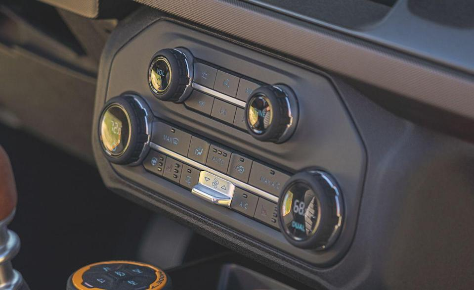 <p>Just like the button in the Jeep Wrangler, the recirculation button on the Ford Bronco is simply an outline of itself. Is it corny if we say buttons like this are a nice touch? Yes.</p>