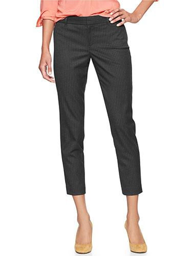 """<div class=""""caption-credit""""> Photo by: Courtesy of the Company</div><div class=""""caption-title"""">Pinstripe pants</div>Looking for the perfect work slacks? That would be a pair with thin, vertical stripes, which will do wonders for your body. """"The up-and-down stripes draw the eye from the waist and make your legs look long and lean,"""" says Thomson. """"Just make sure they're properly cut on the rear end as a too-tight pinstripe can widen the butt."""" <br> <br> Slim Cropped Pinstripe Pants, $54.95; Gap. <br> <br> <ul>  <li>  <b><a rel=""""nofollow"""" target="""""""" href=""""http://www.redbookmag.com/beauty-fashion/tips-advice/flattering-jeans-for-every-body-type?link=jeans&dom=yah_life&src=syn&con=blog_redbook&mag=rbk"""">The Best Jeans for Your Body</a></b>  </li>  <li>  <a rel=""""nofollow"""" target="""""""" href=""""http://www.redbookmag.com/beauty-fashion/tips-advice/fall-bags?link=fallbags&dom=yah_life&src=syn&con=blog_redbook&mag=rbk""""><b>83 Fall Handbags Under $100</b></a>  </li> </ul>"""