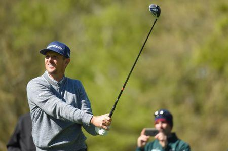 May 15, 2019; Farmingdale, NY, USA; Justin Rose follows his shot from the second tee during a practice round for the PGA Championship golf tournament at Bethpage State Park - Black Course. Mandatory Credit: John David Mercer-USA TODAY Sports