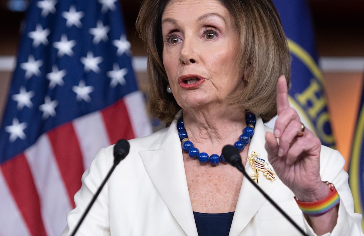 House Speaker Nancy Pelosi holds her weekly press conference on Capitol Hill in Washington, D.C., Thursday. (Saul Loeb/AFP via Getty Images)
