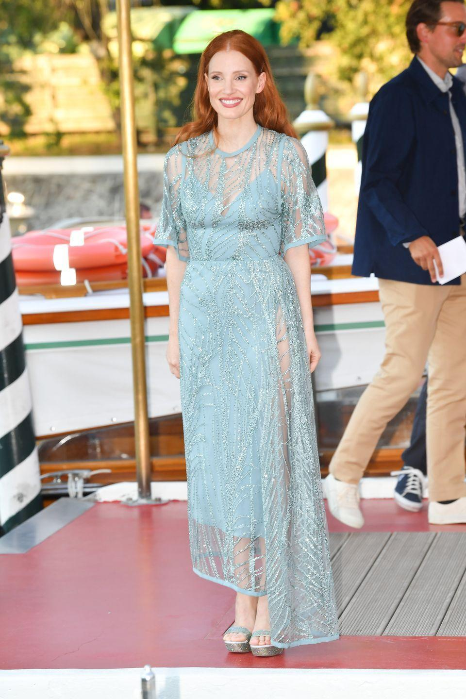 <p>Jessica Chastain arrived at the festival in a sheer Elie Saab gown. </p>