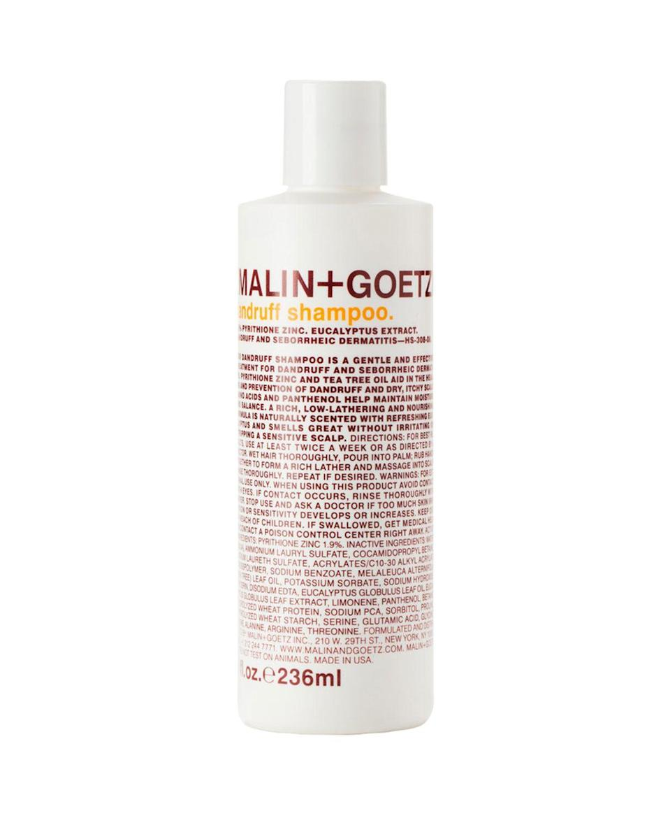 """<h2>Malin + Goetz Dandruff Shampoo <br></h2><br>For an option that's luxurious <em>and </em>efficacious, grab a bottle of this Malin & Goetz formula. It has pyrithione zinc to treat dandruff and seborrheic dermatitis, while tea-tree oil and eucalyptus extract work to soothe itchiness <em>and </em>make your bathroom smell like you're at a spa.<br><br><strong>MALIN and GOETZ</strong> Dandruff Shampoo, $, available at <a href=""""https://www.bloomingdales.com/shop/product/malingoetz-dandruff-shampoo?ID=1153890&pla_country=US&CAWELAID=120156070009736276&cm_mmc=Google-PLA-ADC-_-GS_Local_Only_tROAS-_-All_Products-_-856571005049&gclid=EAIaIQobChMIoau0yZ6k5wIVAeiGCh1GVw1HEAYYAiABEgJPK_D_BwE"""" rel=""""nofollow noopener"""" target=""""_blank"""" data-ylk=""""slk:Bloomingdale's"""" class=""""link rapid-noclick-resp"""">Bloomingdale's</a>"""