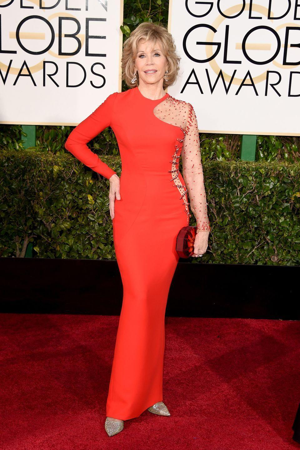 """<p>Fonda always takes any rules for """"dressing your age"""" and turns them on their head, and the 2015 Globes was no different when she showed up in this Versace gown. </p>"""