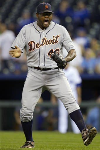 Detroit Tigers relief pitcher Jose Valverde (46) celebrates following a baseball game against the Kansas City Royals at Kauffman Stadium in Kansas City, Mo., Monday, Oct. 1, 2012. The Tigers won 6-3 and clinched the AL Central title. (AP Photo/Orlin Wagner)