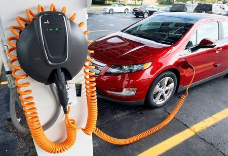 FILE PHOTO: A 2012 Chevrolet Volt electric vehicle is parked at the solar-powered electric charging station designed by Sunlogics in the parking lot of General Motors Co's assembly plant in Hamtramck
