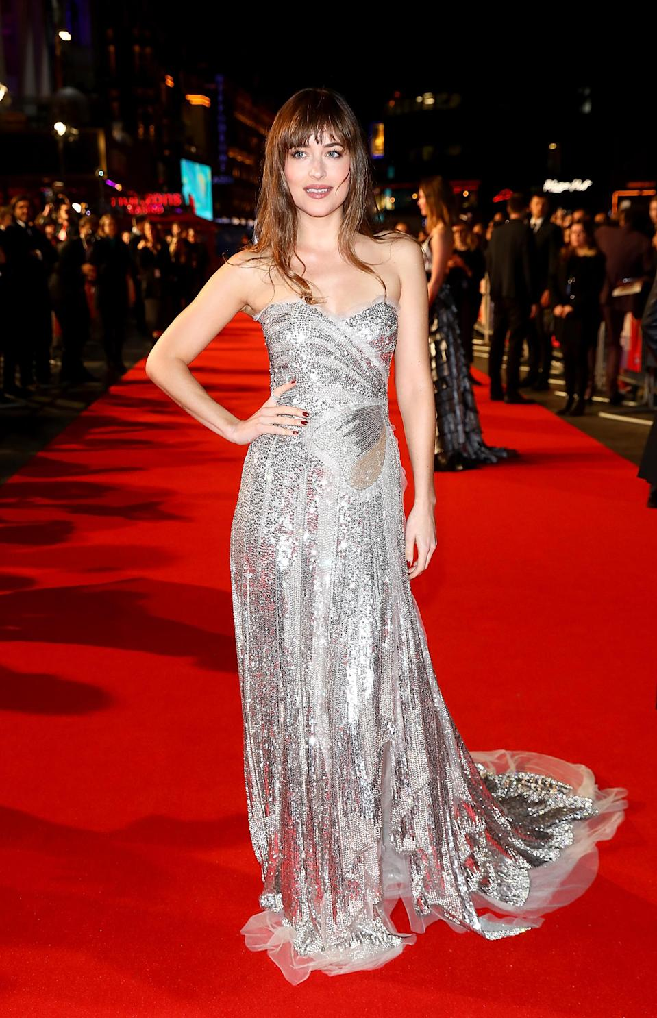 <p>The actress dazzled in a strapless, metallic gown by her go-to label Gucci. <em>[Photo: Getty]</em> </p>