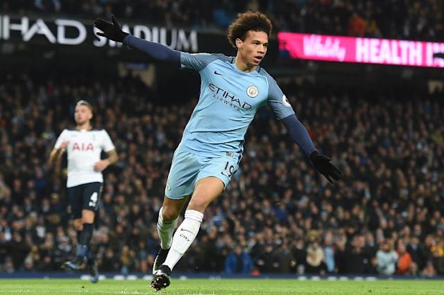 Manchester City's midfielder Leroy Sane celebrates after scoring the opening goal of the English Premier League football match between Manchester City and Tottenham Hotspur at the Etihad Stadium in Manchester, north west England, on January 21, 2017 (AFP Photo/Paul ELLIS)