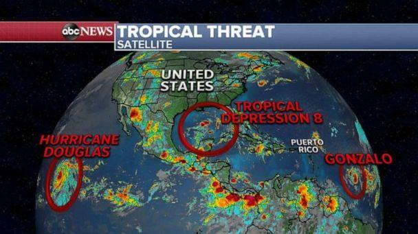 PHOTO: There are three systems from the Atlantic to the Pacific Ocean that could threaten the U.S.and Caribbean with tropical rain and wind. with tropical rain and wind. (ABC News)