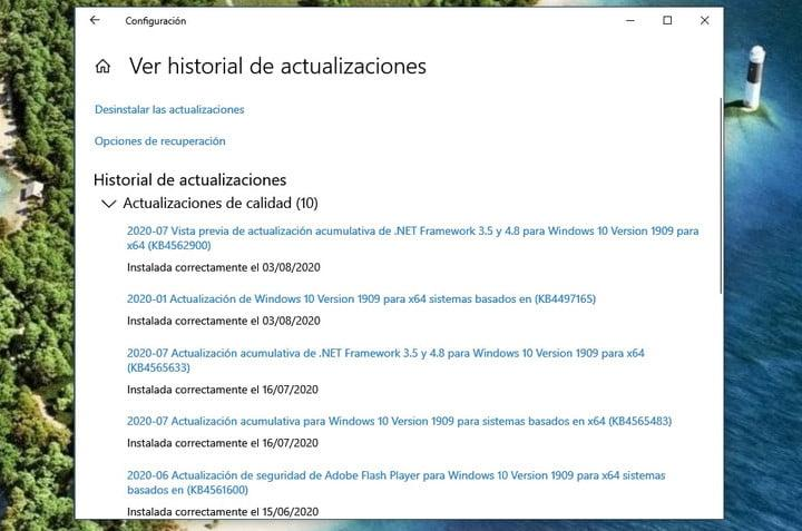 Historial de actualizaciones de Windows 10