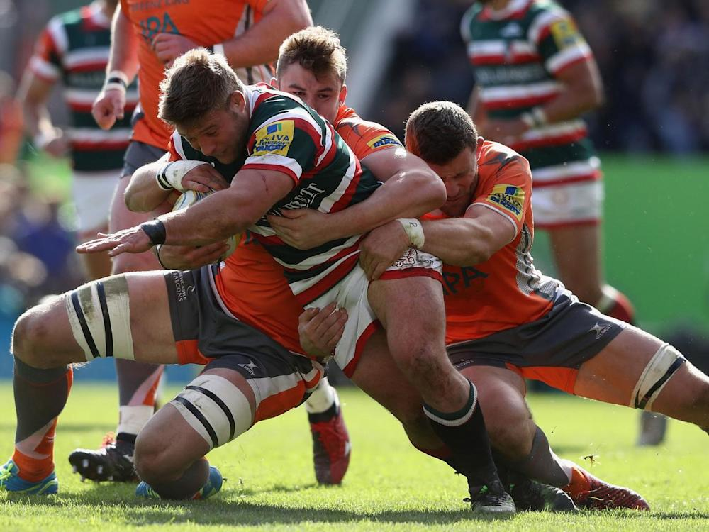Tom Youngs is stopped in his tracks by the Newcastle defence (Getty)