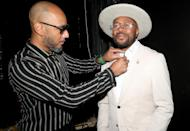 <p>Swizz Beatz and D-Nice put the finishing touches on their looks for the 5th Annual Innovators & Leaders Awards Brunch in Beverly Hills.</p>