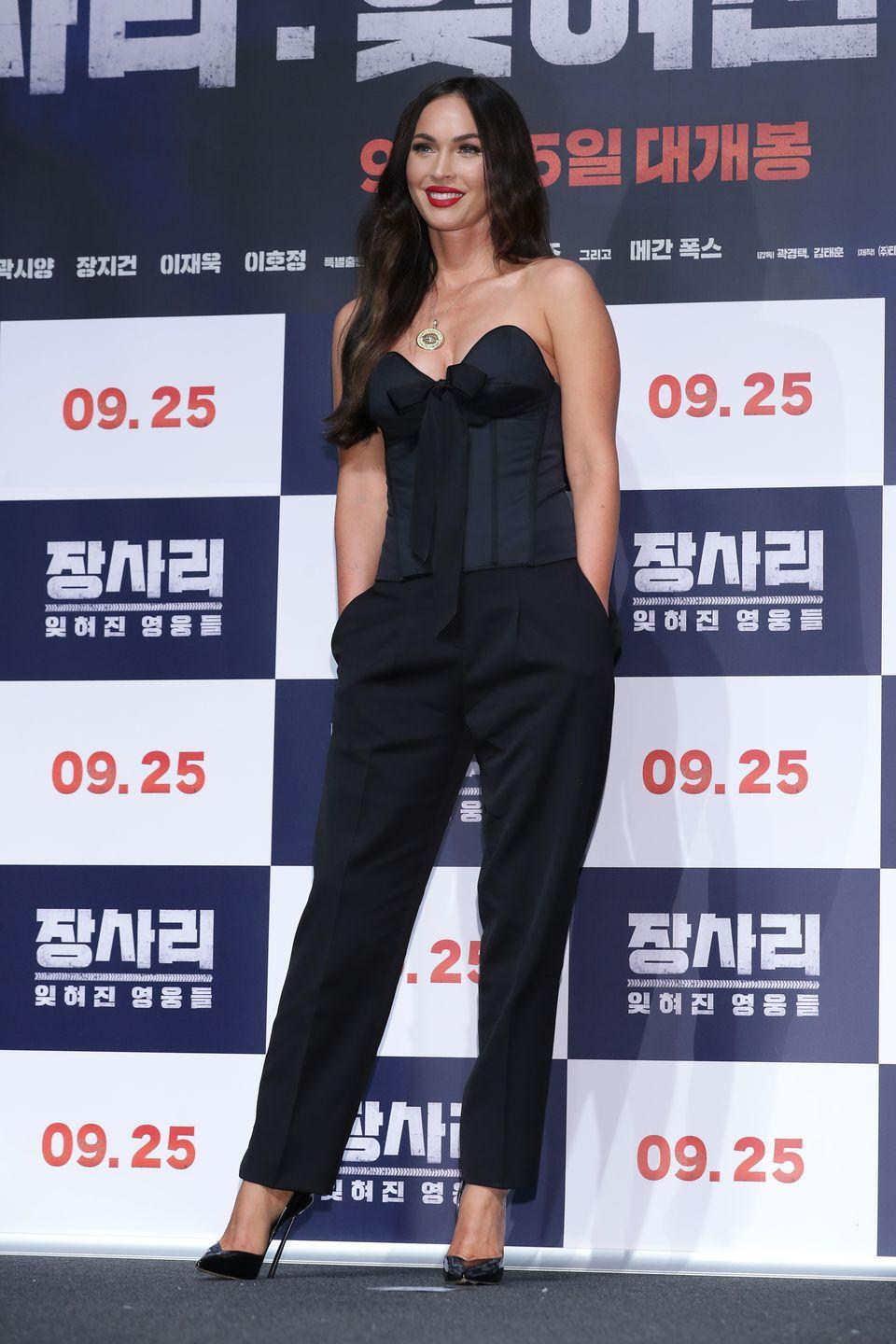 <p>Fox attended the press conference for 'Battle Of Jangsari' in South Korea wearing a black panelled corset, black suit trousers and black heels. </p>