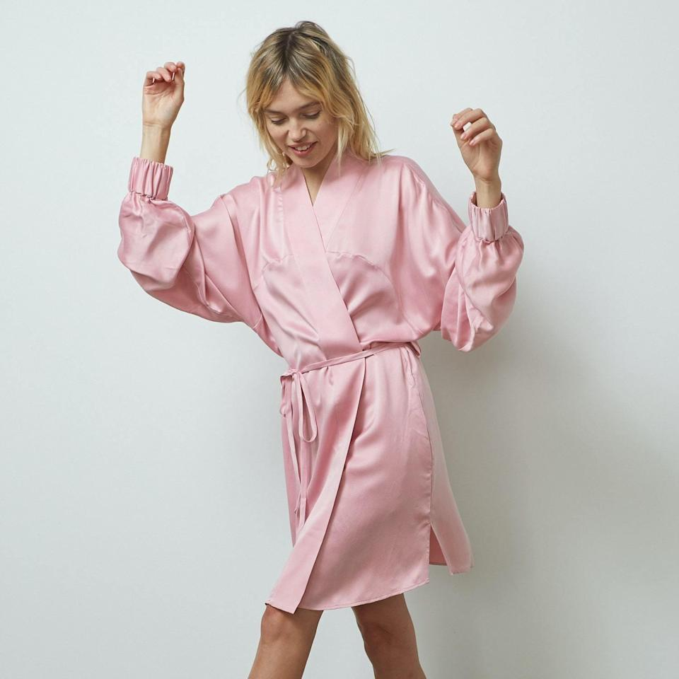 """Soft and ethereal, <a href=""""https://www.glamour.com/story/lunya-review-washable-silk-sets?mbid=synd_yahoo_rss"""" rel=""""nofollow noopener"""" target=""""_blank"""" data-ylk=""""slk:Lunya's luxe silk robe"""" class=""""link rapid-noclick-resp"""">Lunya's luxe silk robe</a> is at the top of our gift list—both to give and to get. Honestly, we can think of so many reasons we love it for lounging, but the fact that it looks like it belongs in a Sofia Coppola movie is enough for us. $248, Lunya. <a href=""""https://www.lunya.co/products/washable-silk-robe?variant=31349678538795"""" rel=""""nofollow noopener"""" target=""""_blank"""" data-ylk=""""slk:Get it now!"""" class=""""link rapid-noclick-resp"""">Get it now!</a>"""