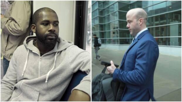GodfredAddai-Nyamekye, left, says he was brutally beaten by Calgary police constable Trevor Lindsay, right, two years before Lindsay assaulted another handcuffed man, Daniel Haworth. Addai-Nyamekye is testifying at Lindsay's sentencing hearing.  (Lost Time Media - image credit)