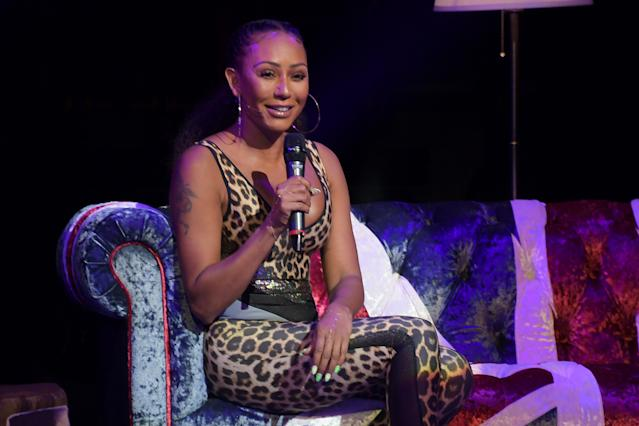 "Mel B pictured on stage during ""A Brutally Honest Evening With Mel B"" in support of Women's Aid in September 2019. [Photo: Getty]"