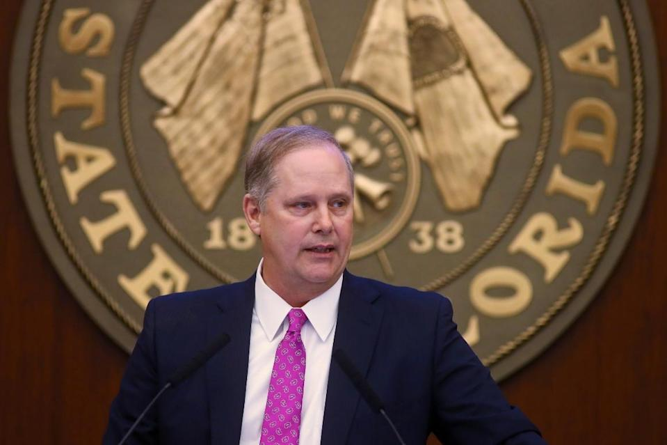 Senate President Wilton Simpson speaks at the state Capitol in Tallahassee, Fla.