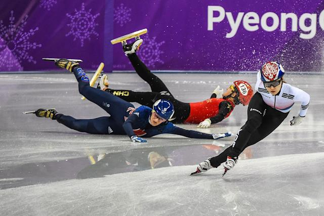 <p>Choi Minjeong of South Korea, Li Jinyu of China and Elise Christie of Great Britain competing in 1500 meter speed skating for women at Gangneung Ice Arena, Gangneung, South Korea on 17 February 2018. (Photo by Ulrik Pedersen/NurPhoto via Getty Images) </p>