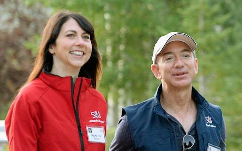 Jeff and MacKenzie Bezos pictured at the Sun Valley Resort in Idaho in 2013 - Credit: Kevork Djansezian/Getty Images North America