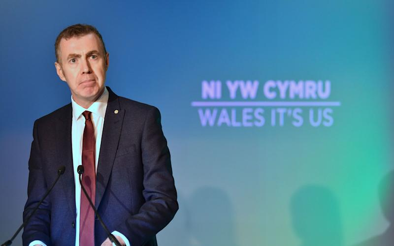 Plaid Cymru leader Adam Price speaks during the launch of his party's manifesto - PA