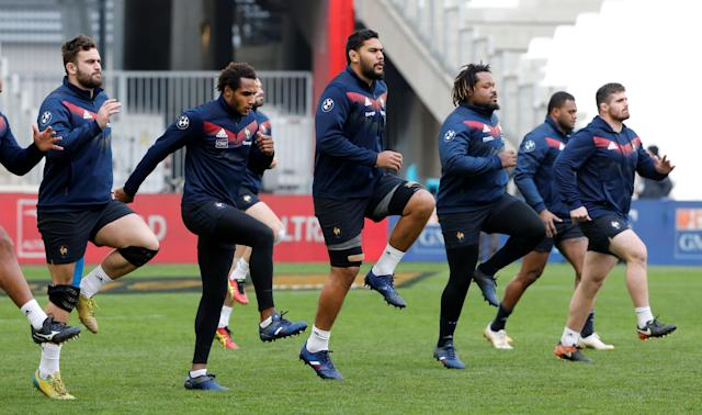 Rugby Union - France Captain's Run - Orange Velodrome, Marseille, France - February 22, 2018 France's Mathieu Bastareaud and Romain Taofifenua with team mates during the captain's run REUTERS/Jean-Paul Pelissier